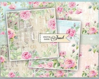 Beautiful Cards - set of 6 cards - digital collage sheet - Printable Download