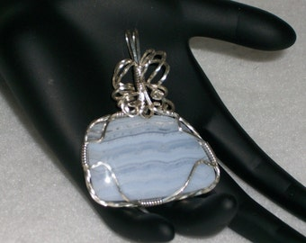 Wire Wrapped, Blue Lace Agate, Sterling Silver Filled, Pendant, Handmade. 31009