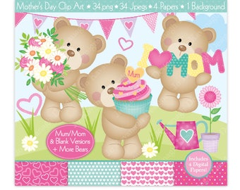 Mothers Day Clipart,Heart Bear Digital Papers,Bear Clipart,Bear Clip Art,Cute Bear Clipart,Mom Clipart,Mum Clipart,Scrapbooking,Commercial