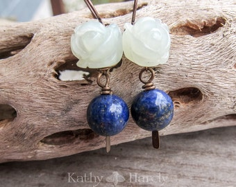 Morning in May || Winter Wedding | Organic | Natural Stone Earrings | Healing Stones | Carved Jade Rose | Lapis Stone | Earrings Under 25
