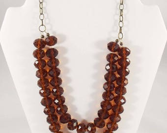 Amber Waves of Grain - Faceted Glass Necklace