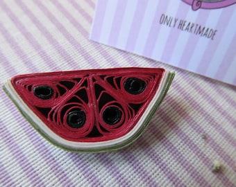 Paper filigree watermelon brooch-PaperMelon