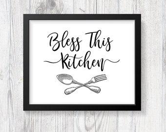 Bless This Kitchen Sign, Kitchen Printable Wall Art, Utensils, Farmhouse Style, Typography, Kitchen Quote, INSTANT PRINTABLE