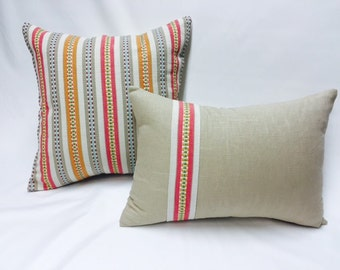 Set of Two Custom Design Pillow Covers, Pink, Orange, Blue, and Tan Colored Texture Stripe