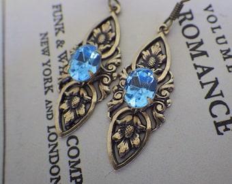 Aqua Blue Earrings ~ Turquoise Blue ~ Art Nouveau Style ~ Aquamarine ~ Swarovski ~ Vintage Style ~ by LadyofTheLakeJewels