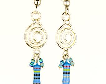 Spiral Earrings with Blue Resistors