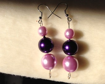 Pink Earrings, Purple Earrings, Pink Drop Earrings, Purple Drop Earrings, Pink Jewellery, Purple Jewellery, Beaded Jewellery, Bead Earrings