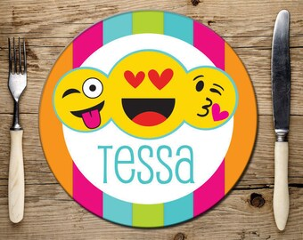 Personalized Emoji Melamine Plate for Kids