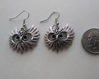 Tibetan Silver Owl Eyes Earrings or Corded Necklace