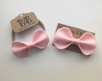 Light Pink Felt Hair Bow, Light Pink Felt Headband, Light Pink Bow, Felt Bow, Toddler Hair Clip, Baby Headband
