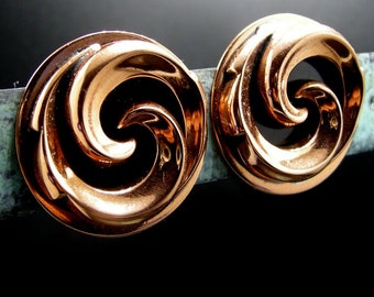 Vintage Copper Swirl Earrings
