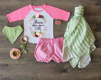 Flower Girl Shirt, Flower Girl Raglan Flower Girl Outfit, Flower Girl Gift, FlowerGirl Top.