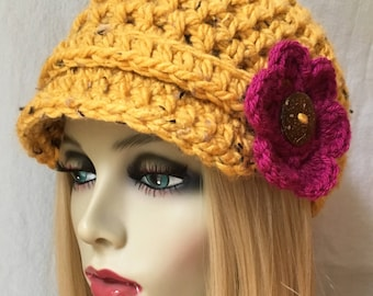 Womens Hat, Beanie, Flower,  Honey, Yellow, Specks, Chunky, Warm. Teens, Winter, Ski Hat, Birthday Gifts for Her, JE26N1
