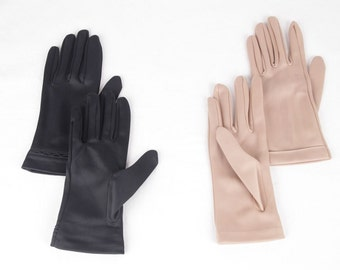 LOT 2 Ladies VINTAGE FABRIC gloves beige and black wrist lenght qs