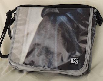 Medium Messenger bag, black white messenger bag, man bag, woman bag, Diaper bag, recycled, Crossbody bag, recycled bag 3001006