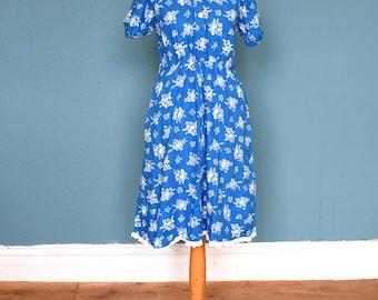 Vintage 70's / 80's Blue Cotton Floral Print Dress UK Size 8