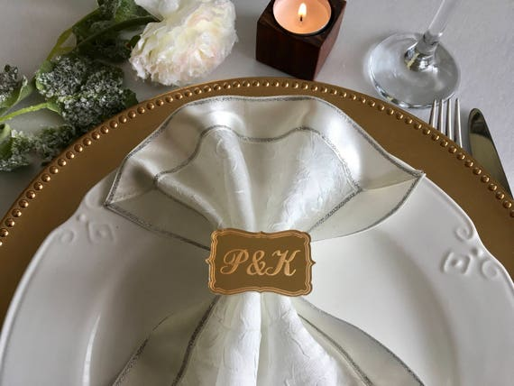 Personalized Initials Engraved Wedding napkin rings Luxury napkin ring holders Bridal shower decorations Custom Gold acrylic Bride and Groom