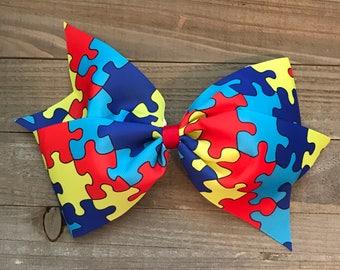 """Autism Awareness 7"""" Bow"""