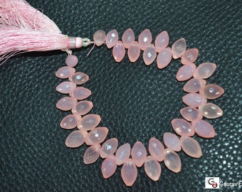 Brand New Pink Chalcedony Dew Drop Faceted,7 inch Strand ,6x9 to 7x11 mm