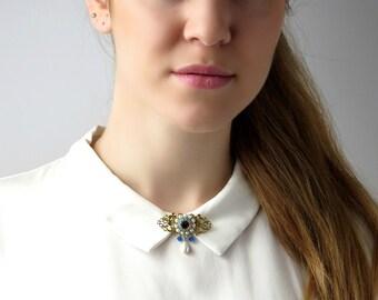 Crystal brooch, Gift mom, Blue brooch, Flower brooch, Pearl brooch, Vintage style jewelry, Crystal broach, Flower broach, Pearl broach,