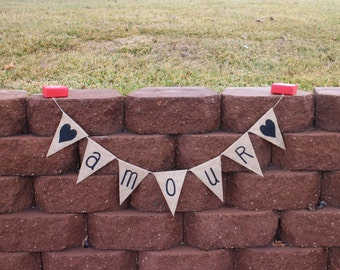 Amour Garland Amour Banner Amour Burlap Garland Valentines Day Garland Valentines Day Banner Valentines Party Wedding Banner Valentines Day