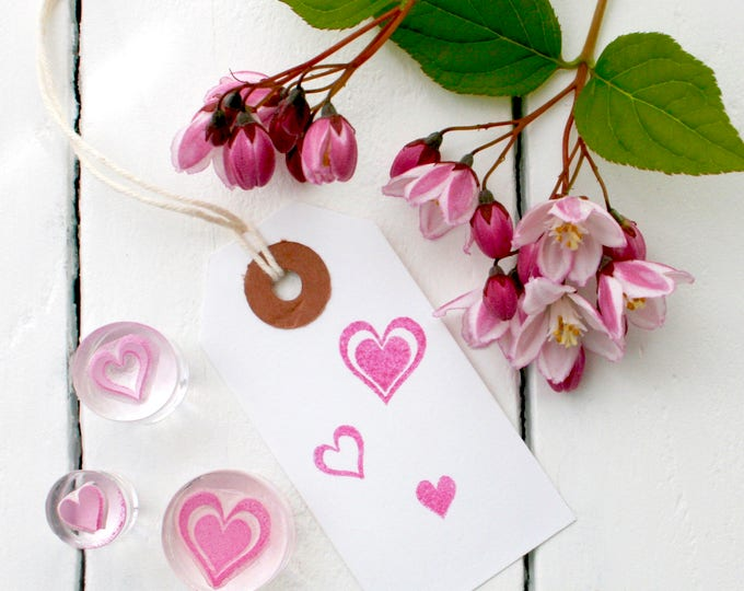 Hearts - Rubber Stamp Set - Three Hearts - Pink Ink - Heart Set - Trio of Hearts - Stamps - Heart - Clear Stamp - Sticky stamps - Valentines