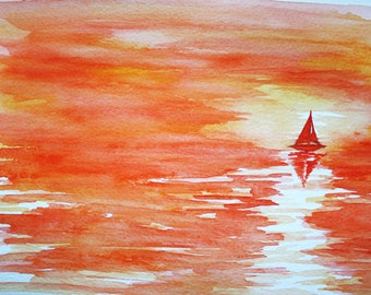Original painting, 'A Boat on the Horizon' by Emily Hocking