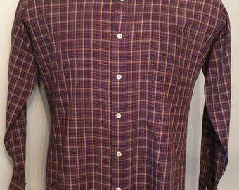 Vintage MENS Sears long sleeve red, blue, tan & white plaid shirt, circa 70s