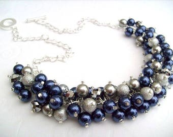 Pearl Beaded Necklace, Navy Blue Silver Bridesmaid Jewelry, Cluster Necklace, Chunky Necklace, Bridesmaid Gift, Navy Blue Jewelry, Wedding