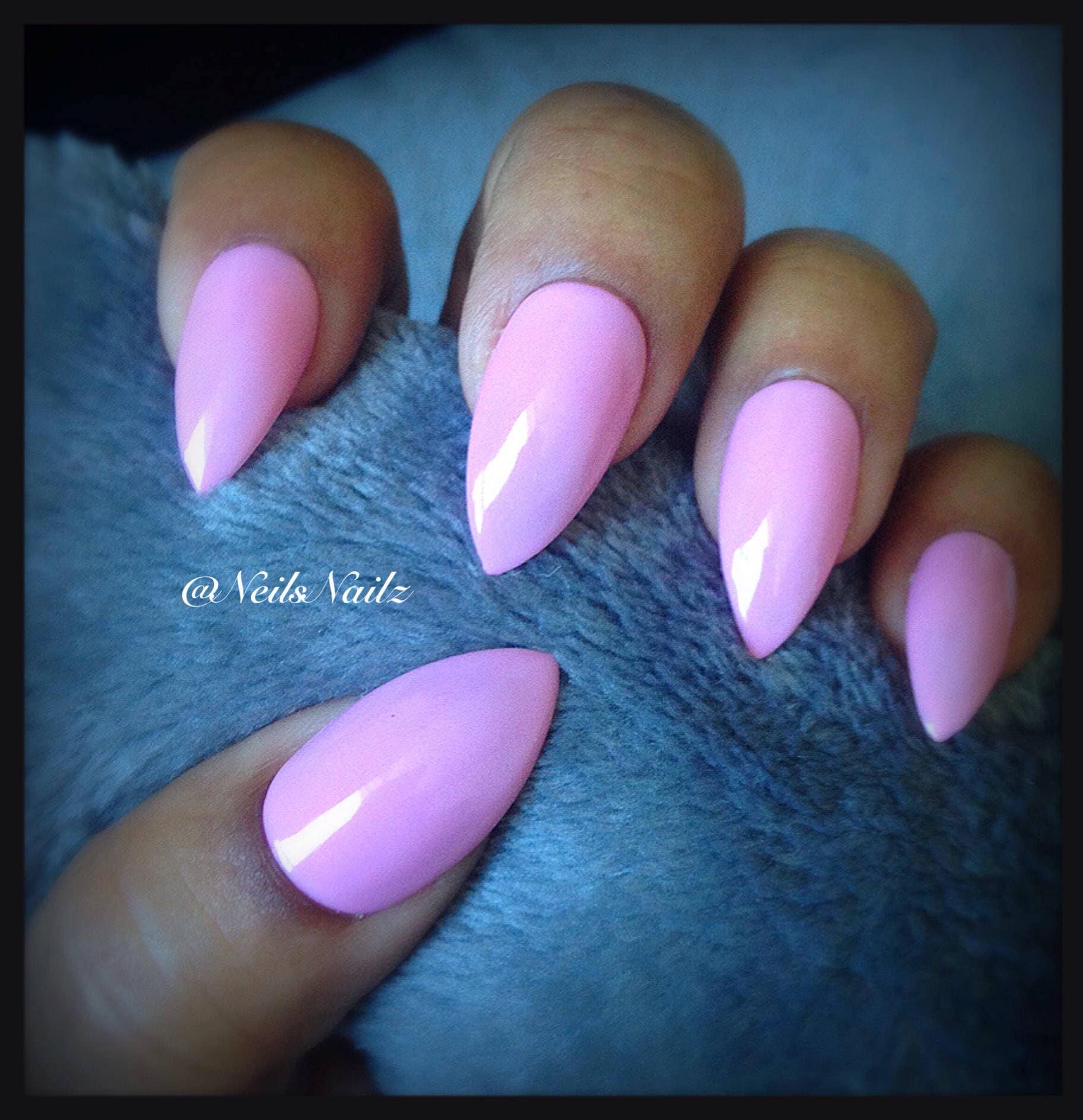 Pink Stiletto False Nails, Pink press on nails, Fake Stiletto Nails ...