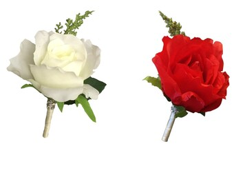 Boutonniere-Pick color of rose boutonniere -large medium open rose with greenery.Pin included
