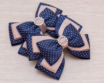 Back to School Bow - Navy Khaki School Bow - Layered Bow - Back to School Gift - School Dress - School Uniform Outfit - Boutique School Bow