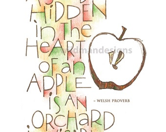 Calligraphy Quote ~ Apple Seed