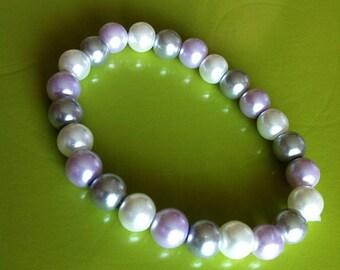 Bracelet perles gris parme blanc