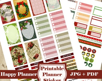 Vintage CHRISTMAS Planner Stickers Kit – 105 Christmas Printable Planner Stickers Mambi Happy Planner Stickers Functional Stickers DOWNLOAD