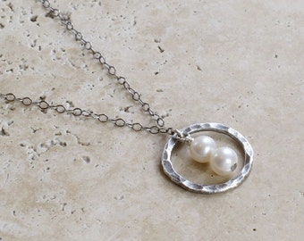 Antiqued Hammered Sterling Silver Orbit & Pearl Necklace
