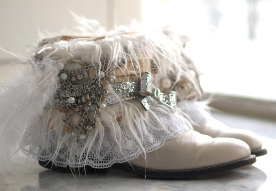Upcycled REWORKED WHITE Winter Vintage Boho COWBOY Ankle Boots
