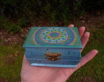 Mystical Mandala - Handpainted Trinket and Stash Box