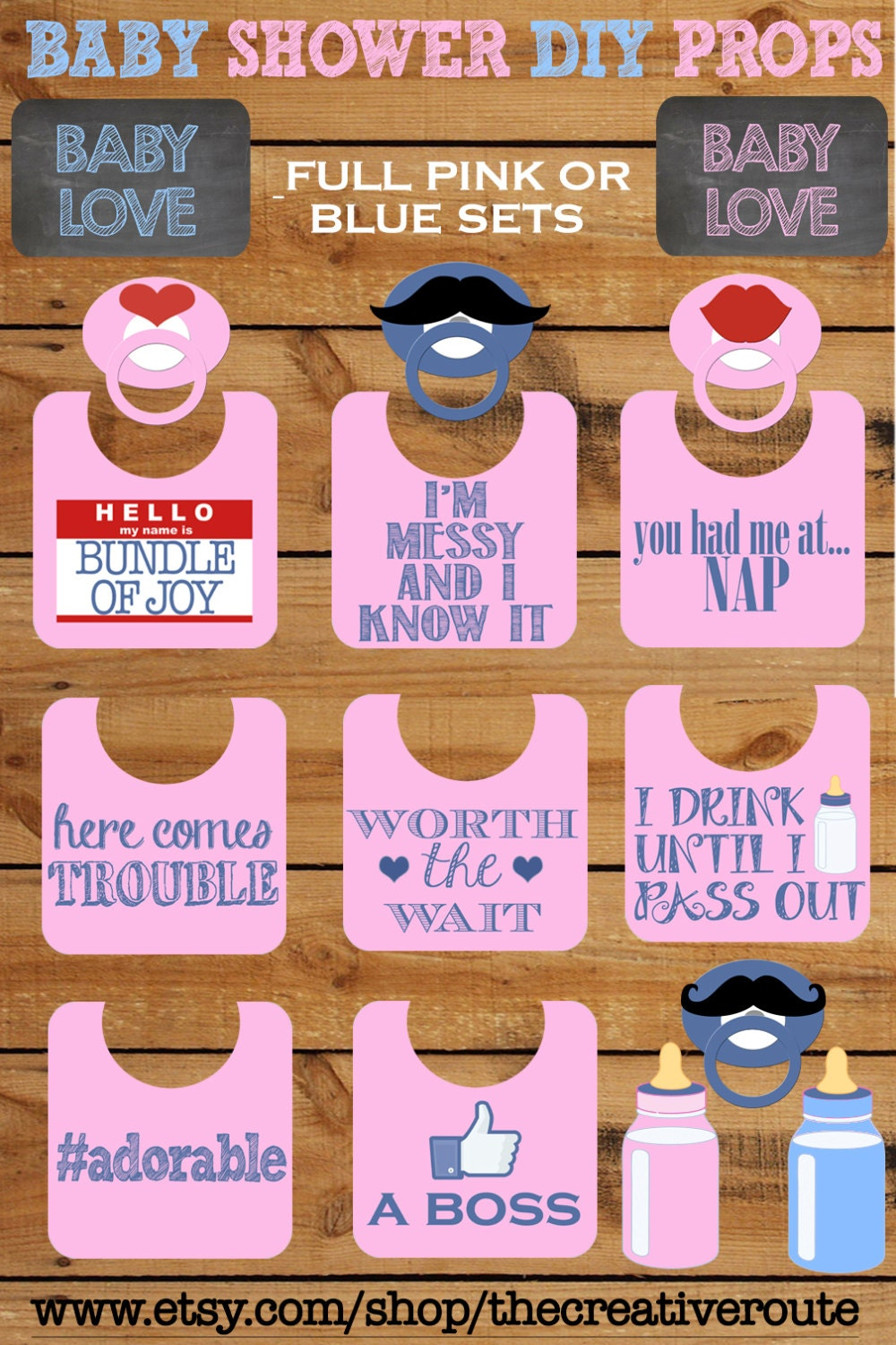Baby shower photo booth props printable large 11 page pdf diy zoom solutioingenieria Images