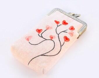 iPhone Case iPhone sleeve gadget case/Glasses Case - Embroidery Heart Tree ( iPhone X, iPhone 8, iPhone 8 Plus, Samsung Galaxy S8 etc. )