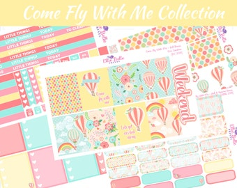 COME FLY with me COLLECTION Weekly Planner Kit, Vertical, Planner Stickers, Erin Condren, Mambi Happy Planner [258]