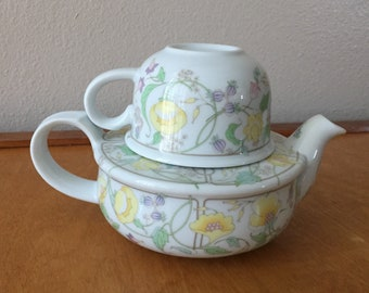 Toscany Fine China Teapot for One - 3 Piece Set - Pastel Floral Colors