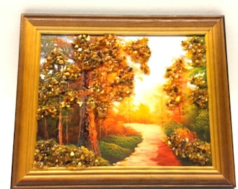 Amber Genuine Picture Forest Wooden Pine Natural Frame Souvenir