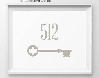 Housewarming Gift Personalized Address Number Sign Welcome Sign Foyer Decor House Number Skeleton Key New Apartment Address Sign Entryway