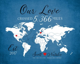 Long Distance Relationship Gift, Personalized Map - Popular Gift Idea, Miles, Travel Theme Across the World, Modern Decor, Love | WF140