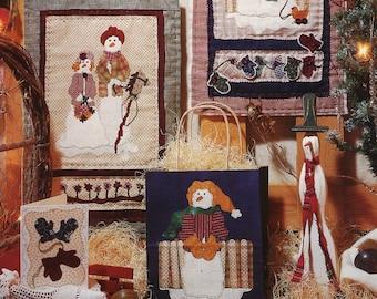 Fiber Mosaics Craft Sewing Pattern Free Us Ship Christmas Quilt 88101 JW Snow Family Samplers 1994 Snowman Uncut