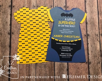 Superhero Baby Shower Invitation   Onesie Invitation   Superhero   Black    Yellow  Blue
