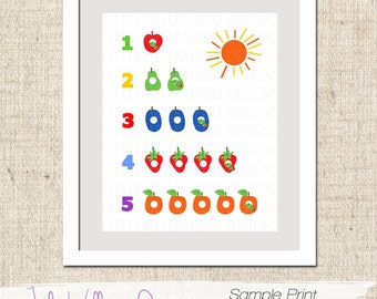 INSTANT DOWNLOAD Hungry Caterpillar Themed 123 Wall Print - PDF Digital