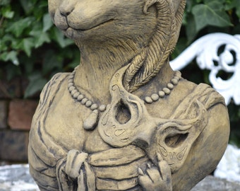 Badger garden ornament bust frost proof stone statue original cat garden ornament bust frost proof stone statue original design lady kitty workwithnaturefo