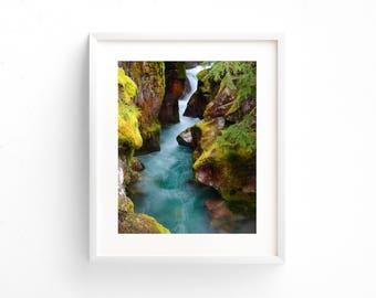 """large colorful landscape wall art, landscape wall art prints, beautiful landscape prints, large art, large art prints - """"Avalanche Falls"""""""
